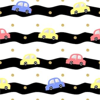 ストライプの背景にゴールドドットの輝きのパターンとシームレスなカラフルな手描きの車