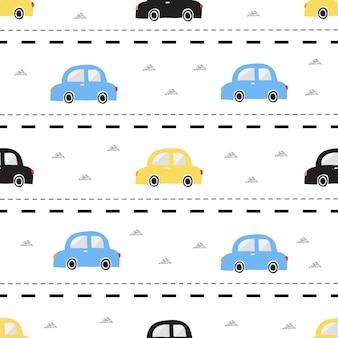ストライプの背景にシルバートライアングルグリッターパターンとシームレスなカラフルな手描きの車