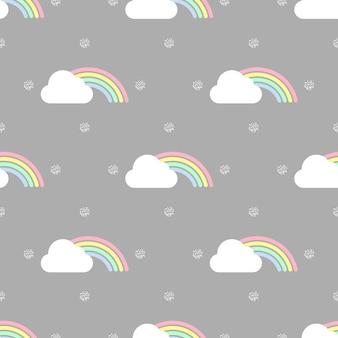 бесшовные красочные радуги и облака с золотой точки блеск шаблон на сером фоне