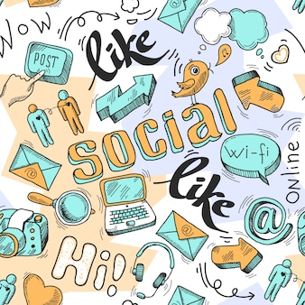 Seamless doodle social media pattern background vector illustration
