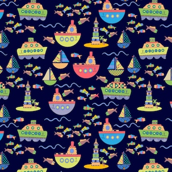Seamless editable pattern with fishing boat