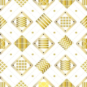 白い背景に色とりどりのゴールデンスクエアでシームレスなファッションパターン