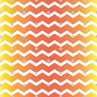 Seamless gold dot glitter pattern on zig zag background
