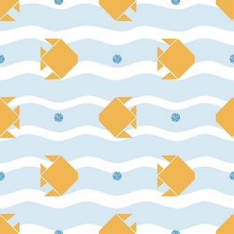 Seamless gold origami fish with blue glitter bubble pattern