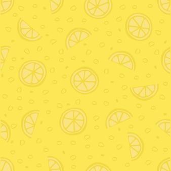 シームレスな緑の手が描かれたレモンのパターンの背景