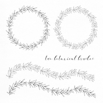 Seamless hand drawn botanical wreaths