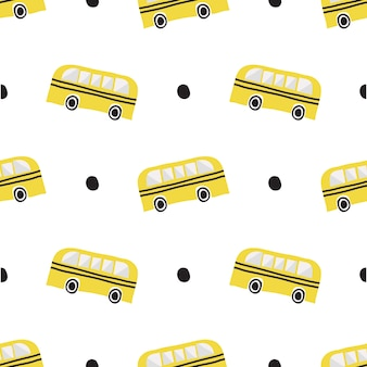 Seamless hand drawn school bus with black dot pattern on white background