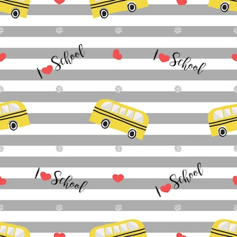 Seamless hand drawn school bus with heart and silver dot glitter pattern on grey stripe background