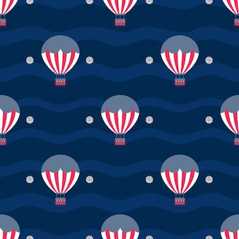 Seamless hot air balloonwith silver dot glitter pattern on blue stripe background