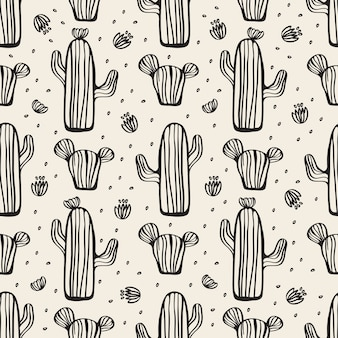 Seamless monochrome hand drawn cactus pattern background