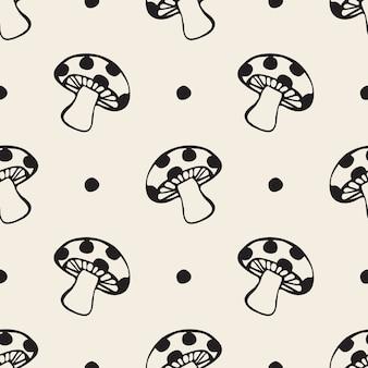 Seamless monochrome hand drawn mushroom with polka dot pattern background
