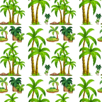 Seamless palm trees and island
