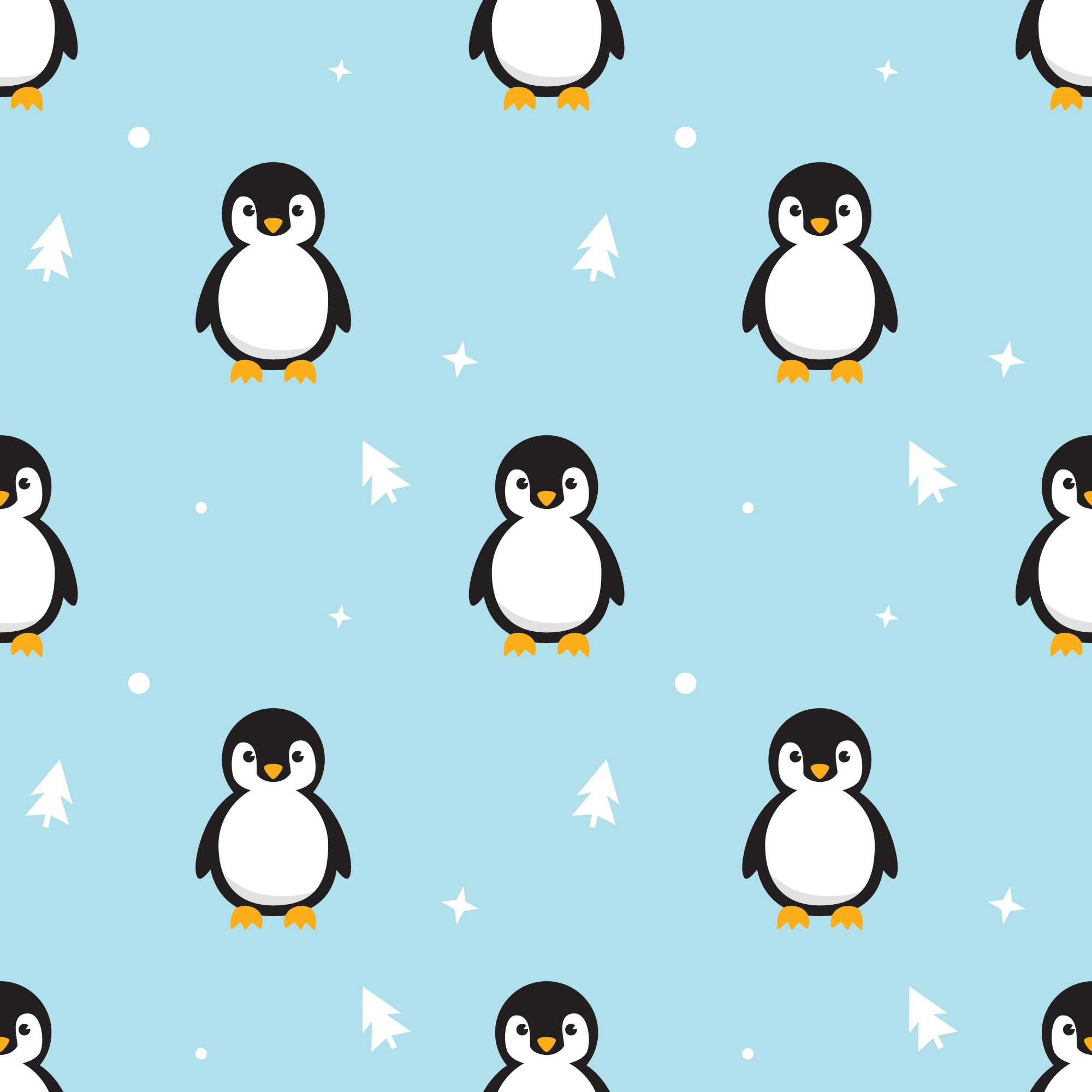 Seamless pattern Baby Penguin standing on sky blue background