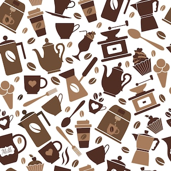 Seamless pattern of coffee icons