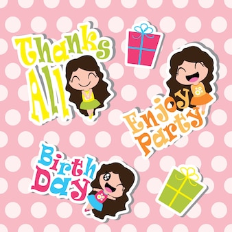 Seamless pattern of Cute girls and birthday gifts on striped background, vector carton, for kid scrap paper, wallpaper, and postcard