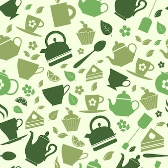 Seamless pattern of green tea flat illustrations