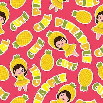 Seamless pattern of pineapple girl on pink background vector cartoon
