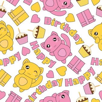 かわいい猫、誕生日ケーキ、ボックスギフトとシームレスなパターン誕生日の壁紙のデザイン、スクラップペーパーと子供の生地の服の背景に適したベクトル漫画