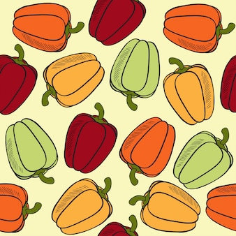 Seamless pattern with peppers