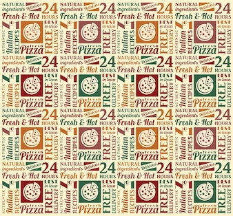 Seamless pattern with pizza lettering