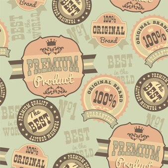 Seamless pattern with retro vintage badges