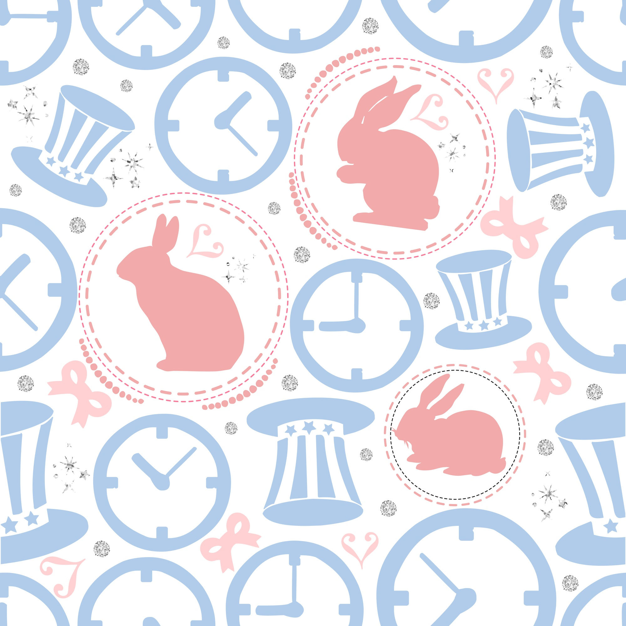 SEAMLESS RABBIT WITH SILVER DOT GLITTER ,CLOCK AND HAT PATTERN BACKGROUND , WONDERLAND THEME