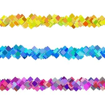 Seamless random square pattern paragraph divider line design set - vector design elements from colored diagonal squares