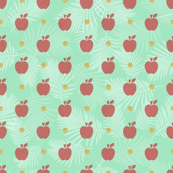 Seamless red apple with gold dot glitter pattern background