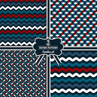 Seamless retro navy pattern set
