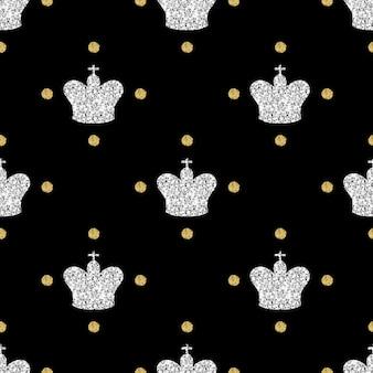 黒の背景に金色の点の輝きのパターンとシームレスな銀色の輝きの王冠