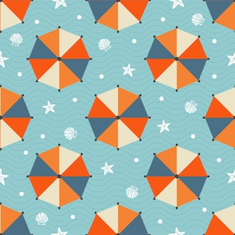 Seamless summer pattern with colorful beach umbrella ,star fish,shell and  polka dot on blue wave background
