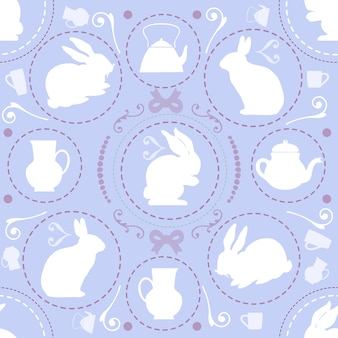 Seamless sweet vintage pattern on violet background with rabbit and teapot , wonderland theme