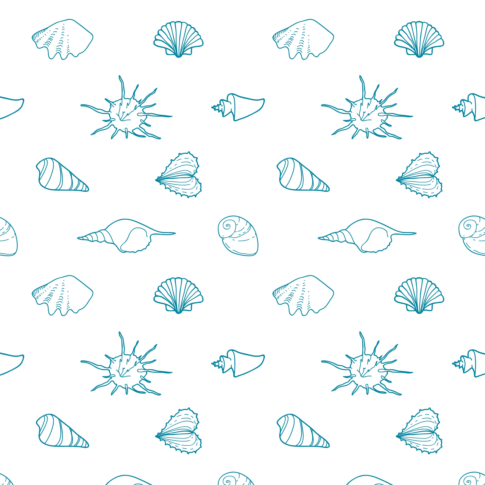 Seamless vector pattern with shells of various shapes.