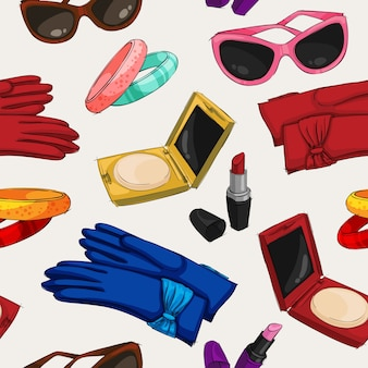 Seamless women fashion accessories wallpaper