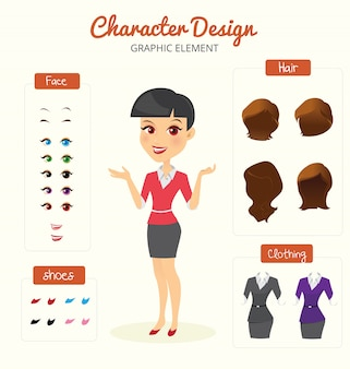 Secretary character creation set. Self-confident businesswoman. Cartoon flat-style infographic illustration