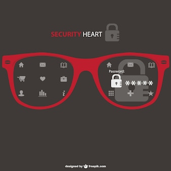 Security glasses and web icons