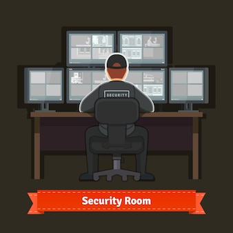 Security room with working professional
