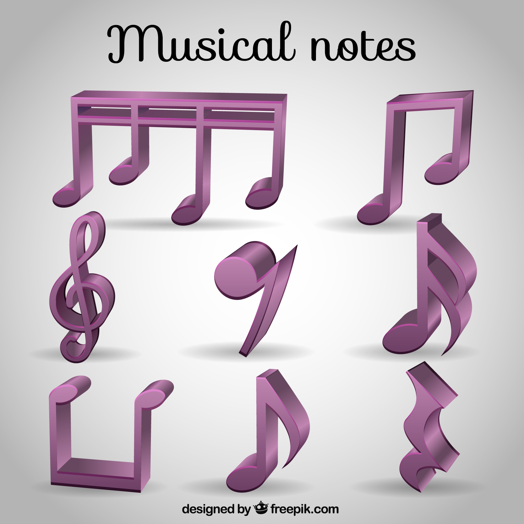 Selection of 3d purple musical notes