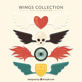 Selection of awesome wings in flat design