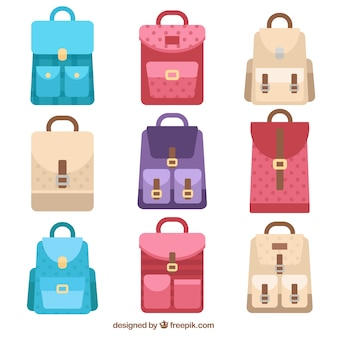 Selection of backpacks in flat style