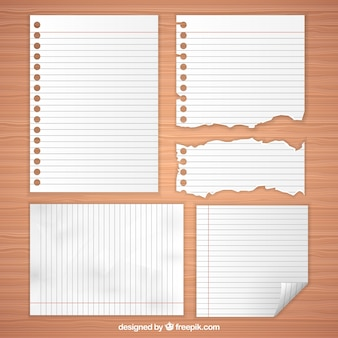 Selection of blank paper sheets with different sizes