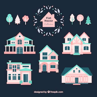 Selection of blue and pink houses in flat design
