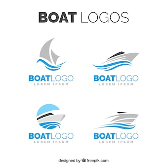 Selection of boat logos in minimalist design