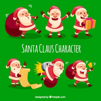 Selection of cheerful santa claus working