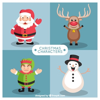 Selection of christmas characters with a big smile