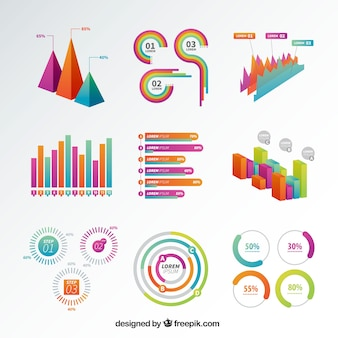 Selection of colored infographic graphs