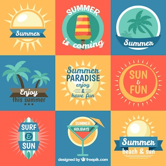 Selection of colored summer stickers