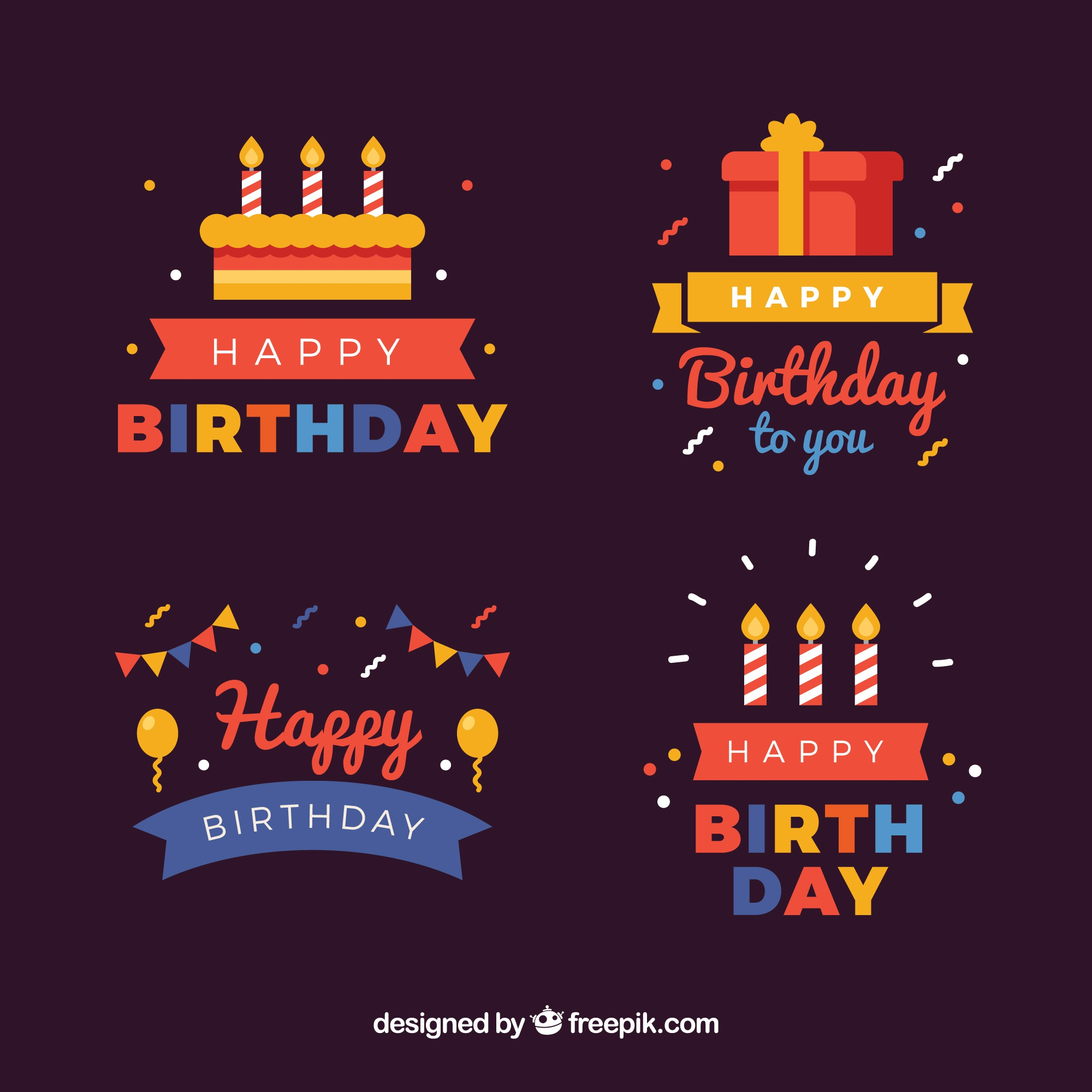 Selection of colorful birthday stickers