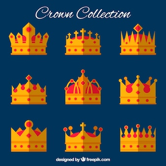 Selection of crowns with red gems in flat design