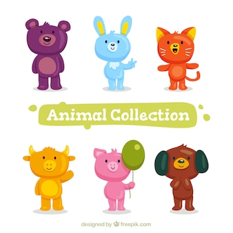 Selection of cute animals in flat design